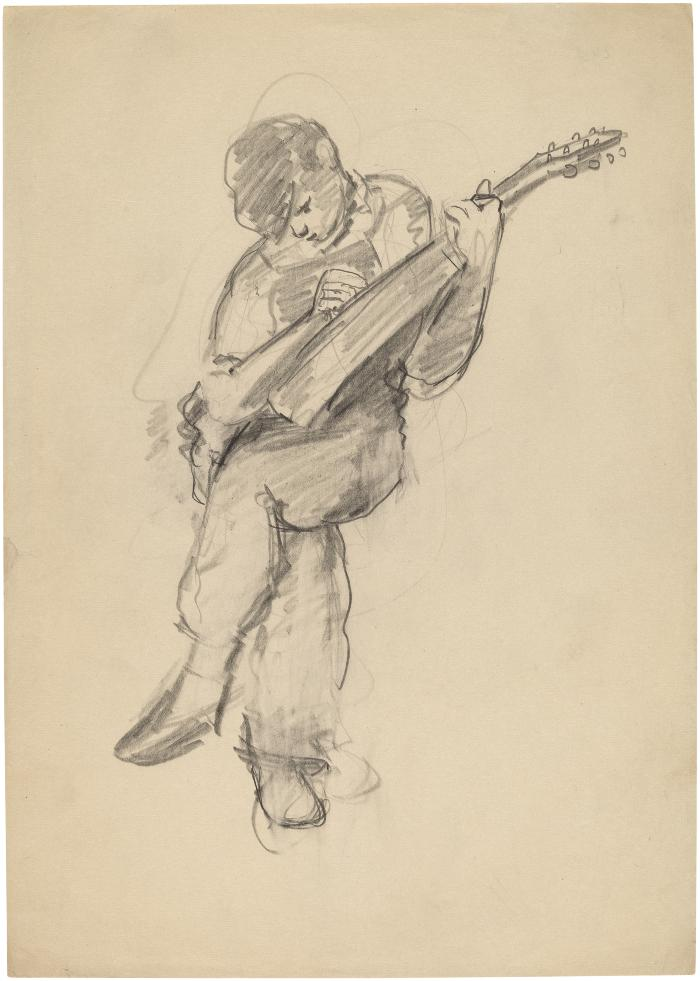 [Seated boy with mandolin]