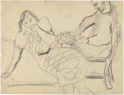 [Seated woman and man]