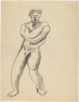 [Standing male nude with pipe]