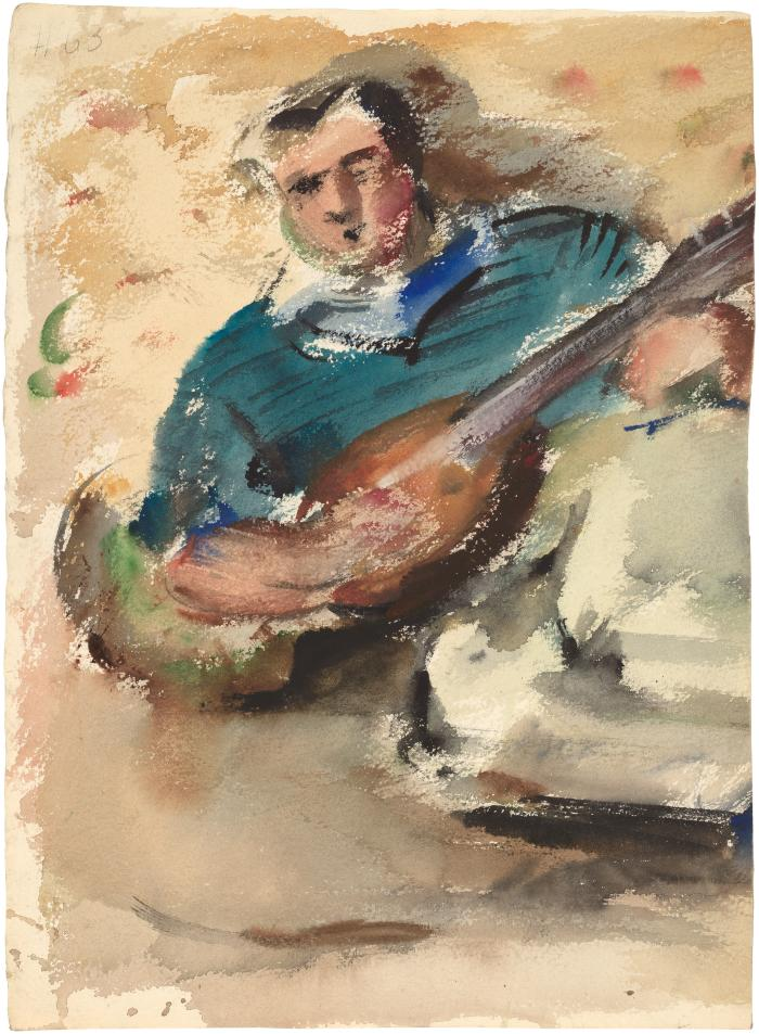 [Reclining man with mandolin]
