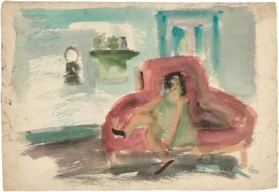 [Girl on red sofa]