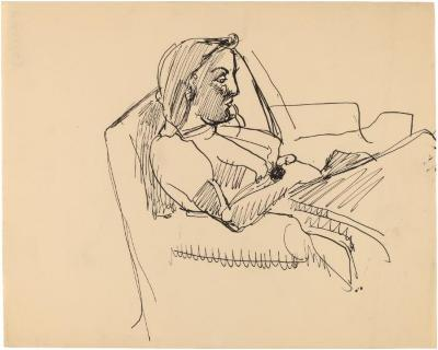[Woman in armchair reading]