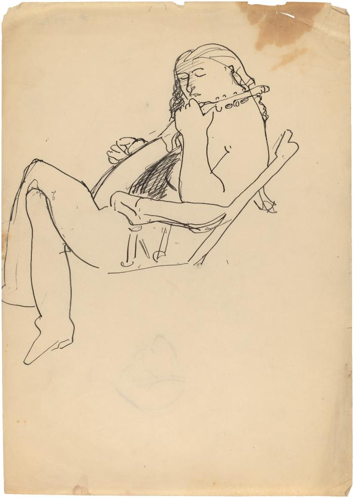 [Seated woman with mandolin]