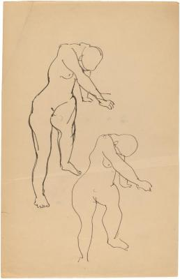 [Standing female nude, two studies]