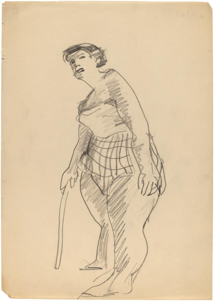 [Standing woman with cane]