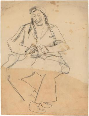 [Seated woman with braids]