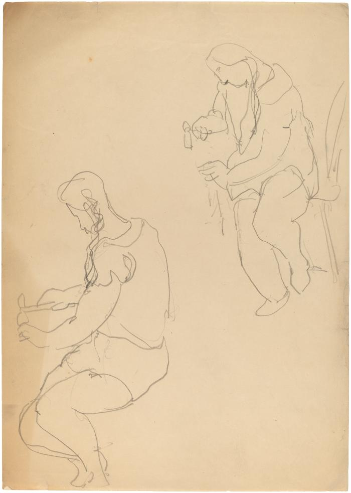 [Woman seated at table, two studies]