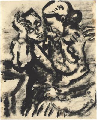 [Woman seated on a man's lap]