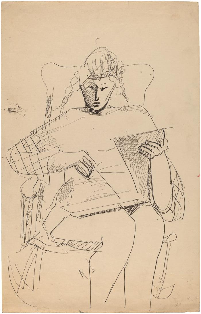 [Woman in rocking chair drawing]