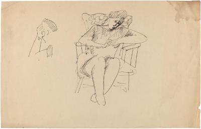 [Woman in rocking chair / figure study]