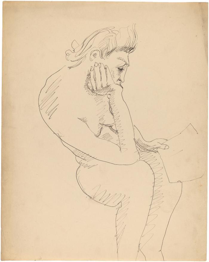 [Seated female nude reading]