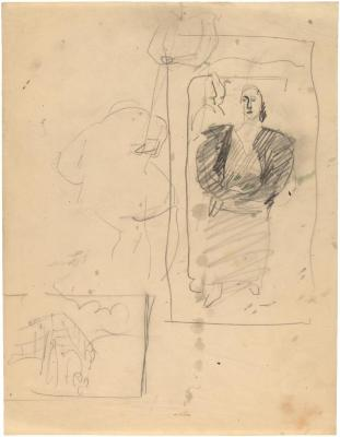 [Studies of bridge, bathers, standing woman]