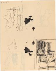 [Figure study / still life wiht vase and bottle]