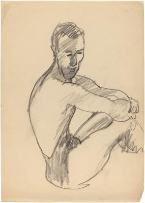 [Seated male nude]
