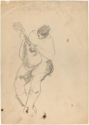 [Seated figure with mandolin]