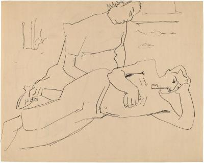 [Seated woman and reclining man with pipe]