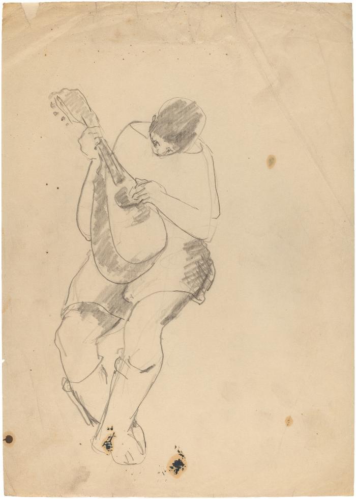 [Seated figure with mandolin]