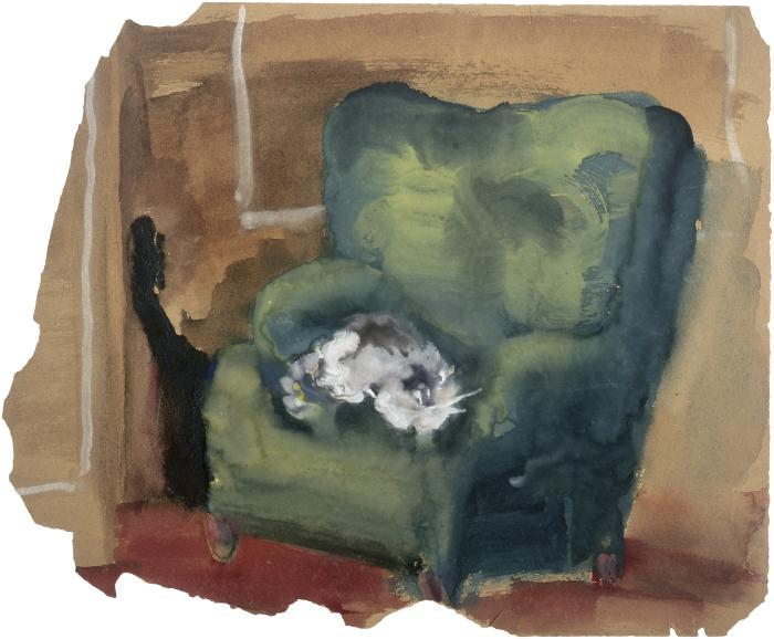 [White cat in green armchair]