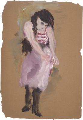 [Woman adjusting skirt]