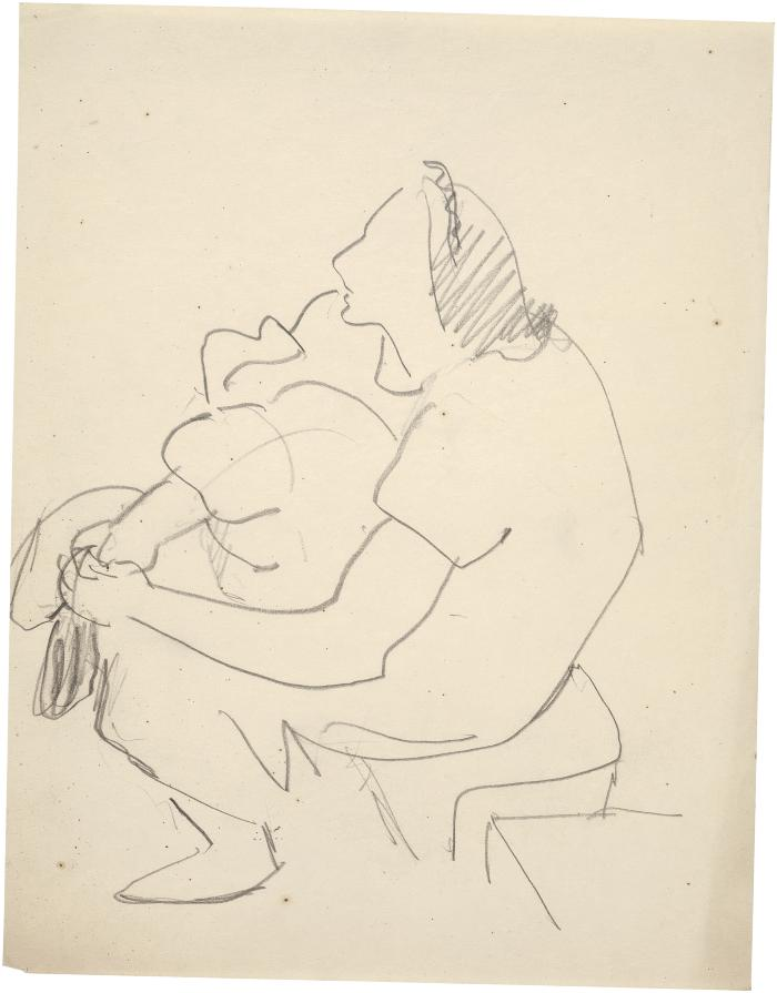 [Seated woman holding bundle]