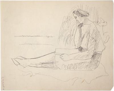 [Seated woman reading in outdoor setting]