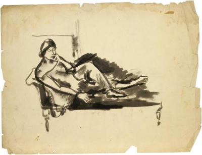 [Reclining woman on sofa]