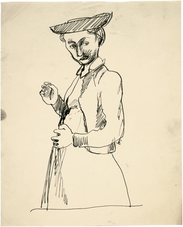 [Standing woman wearing hat]