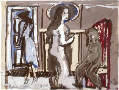 [Three figures in interior]