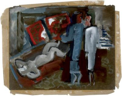 [Two standing figures in interior with reclining female nude]