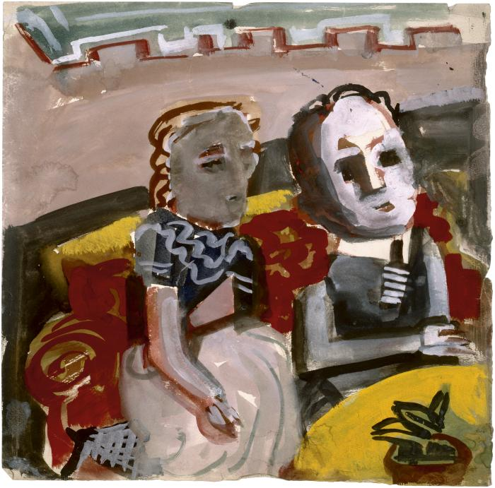 [Woman and man seated at table]