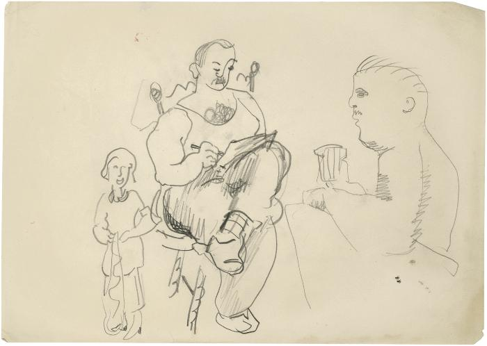 [Standing woman / seated man drawing / profile of man]
