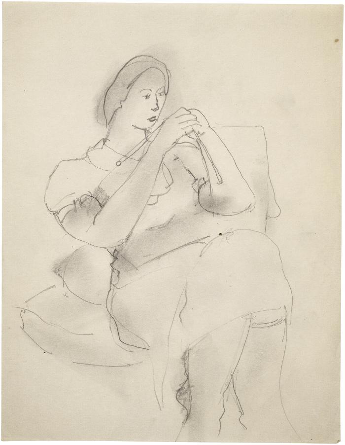 [Seated woman knitting]