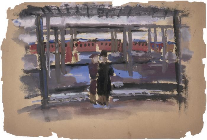 [Figures on train platform]