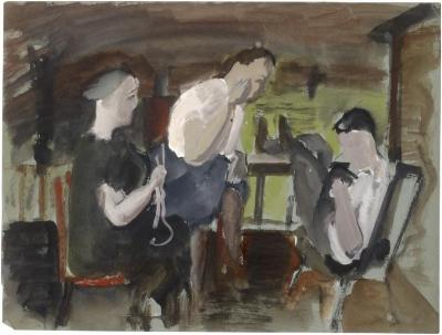 [Three seated figures]