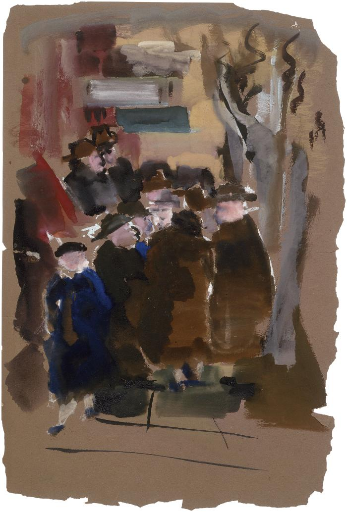 [Street with crowd of figures]