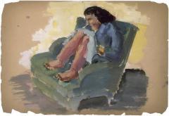 [Woman in green armchair]