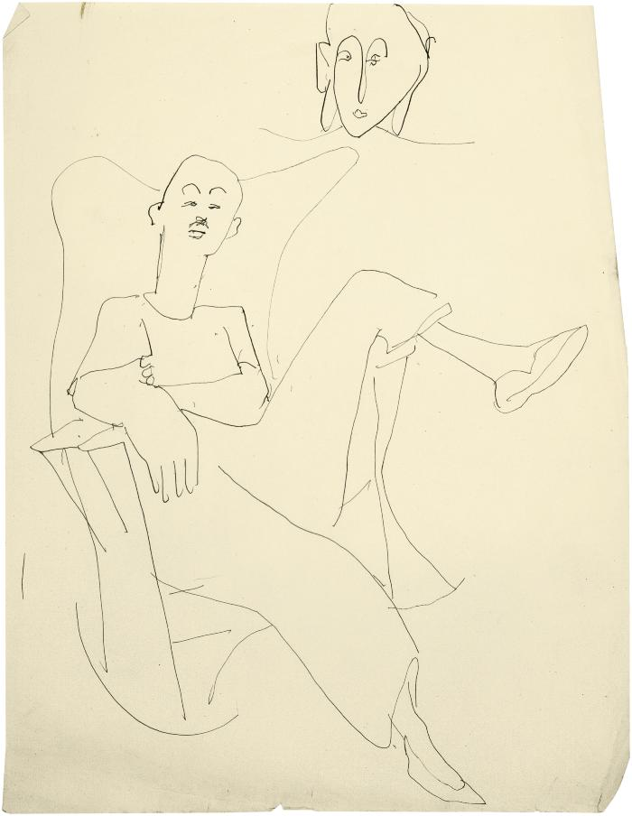 [Man in wingback rocking chair / head of a woman]