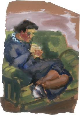 [Woman in green armchair]