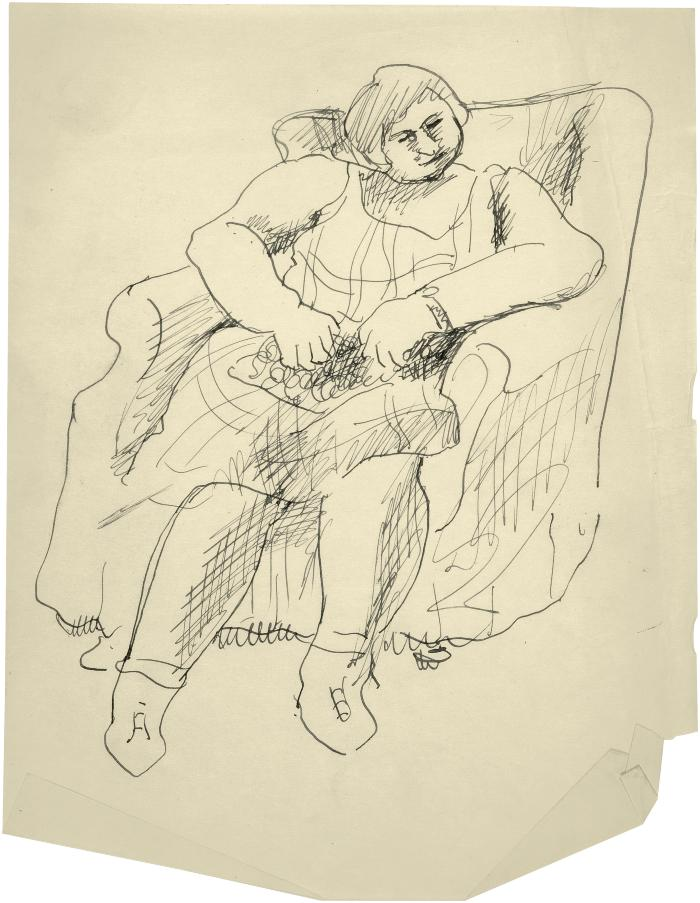 [Woman in armchair]