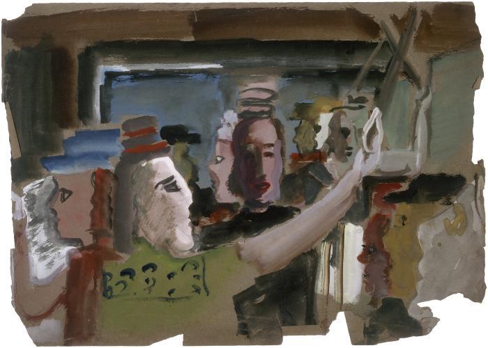 [Figures in subway car]