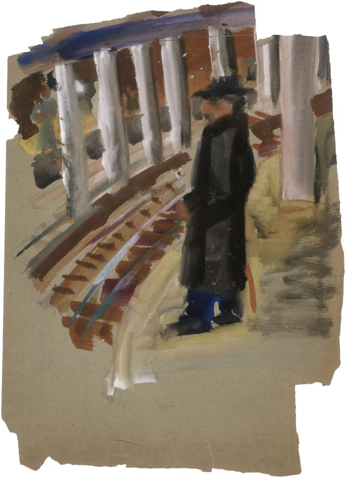 [Man on train platform]