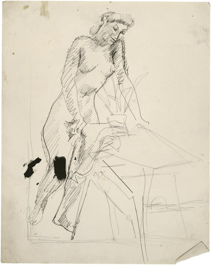 [Female nude by table]