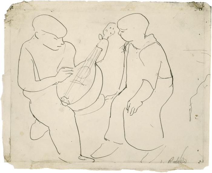 [Two seated boys, one with mandolin]