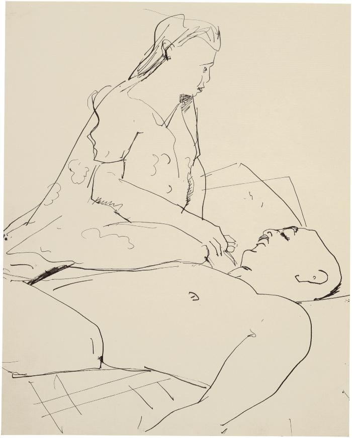 [Reclining man and seated woman]