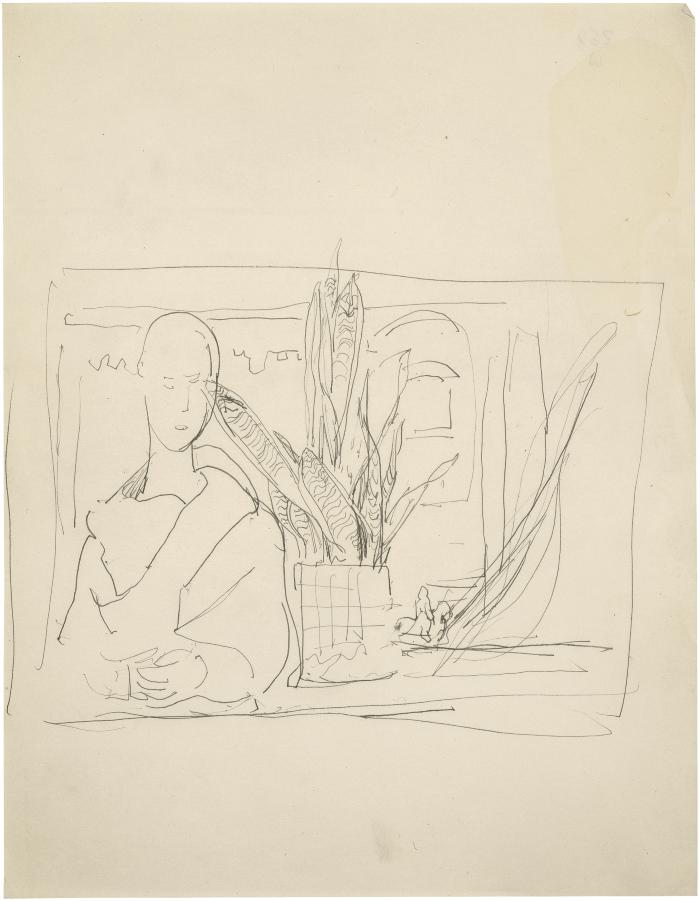 [Statue and plant by window]