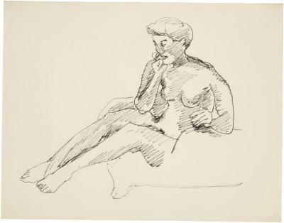 [Seated female nude]