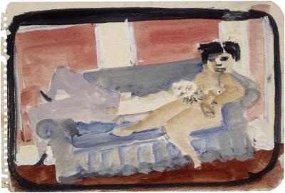 [Reclining man and nude female on blue sofa]