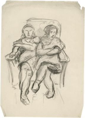 [Two girls in armchair]