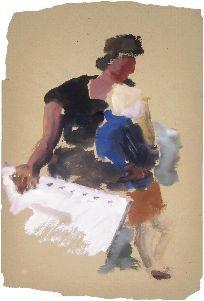 [Seated woman with standing child ]