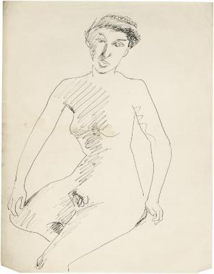 [Seated female nude]